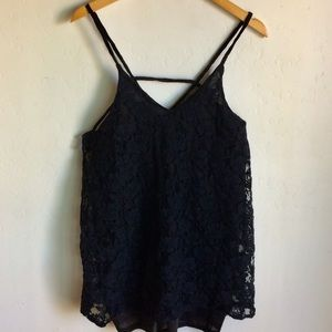 Say What Black Lace Lined Top Size L Thin Straps